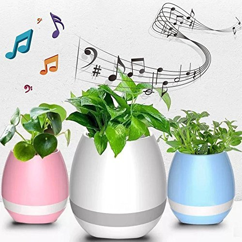 Musical Flower Pot Bluetooth Speakers LED Lights and Touch Control