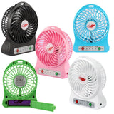 USB Mini Fan Portable Rechargeable 3 Speed Light