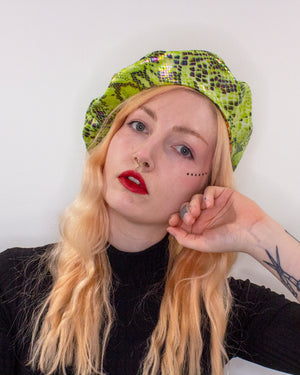 Faux Snake Skin Orange and Green Reversible Vegan Beret