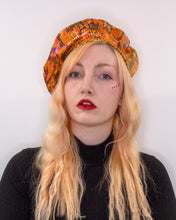 Load image into Gallery viewer, Faux Snake Skin Orange and Green Reversible Vegan Beret