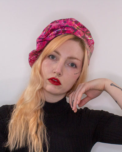 Faux Snake Skin Pink and Blue Reversible Vegan Beret