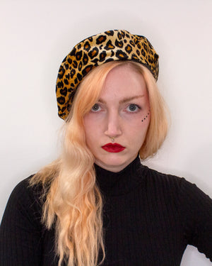 Leopard Print and Black Rib Reversible Vegan Beret