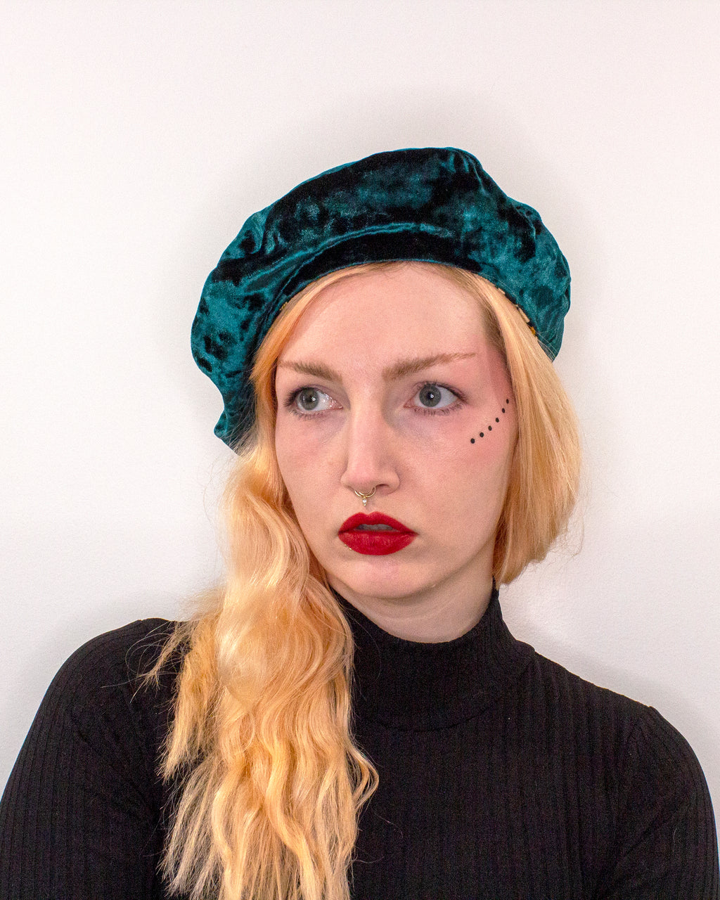 Leopard Print and Forest Green Velvet Reversible Vegan Beret