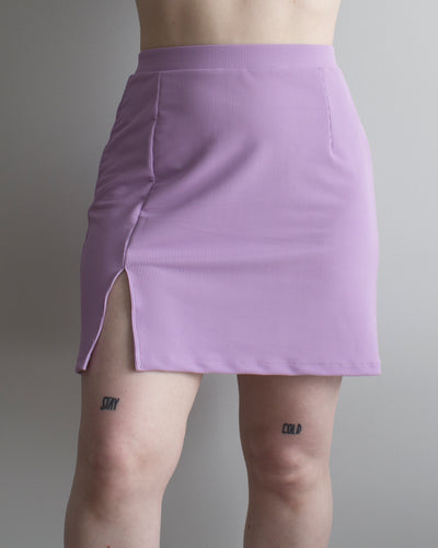 Buffy Mini Skirt in Lilac Rib