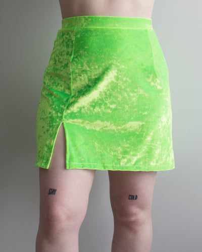 Buffy Mini Skirt in Slimer Green Velvet