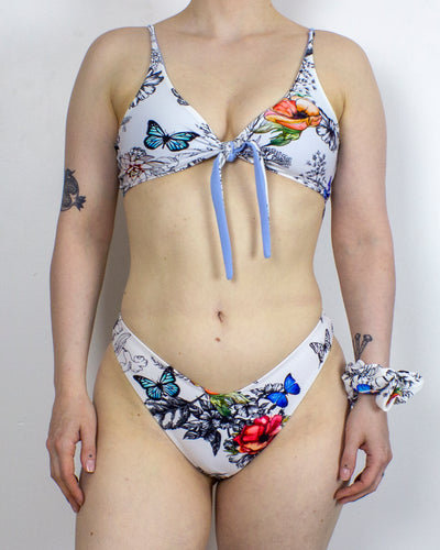 SMALL Butterfly Gardens Bikini Set with Reversible Top + Scrunchie