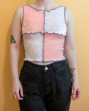 Load image into Gallery viewer, XS-M Patch Work Carnival Top in Baby Pink and White Velvet