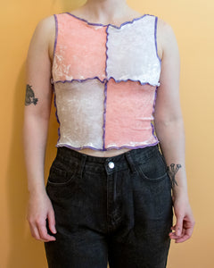 XS-M Patch Work Carnival Top in Baby Pink and White Velvet