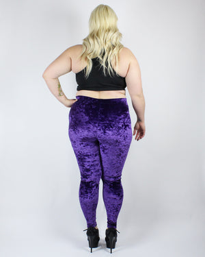 XL Crystal Ball Purple Velvet Leggings