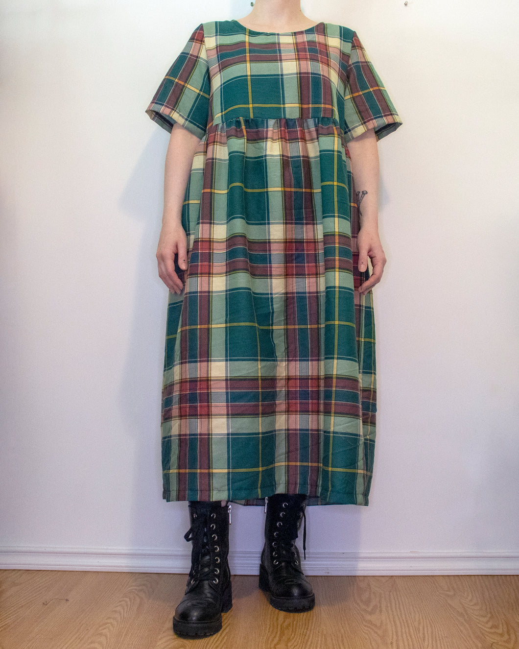 S-L Sage Smock Dress in Green Plaid