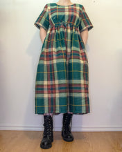 Load image into Gallery viewer, S-L Sage Smock Dress in Green Plaid