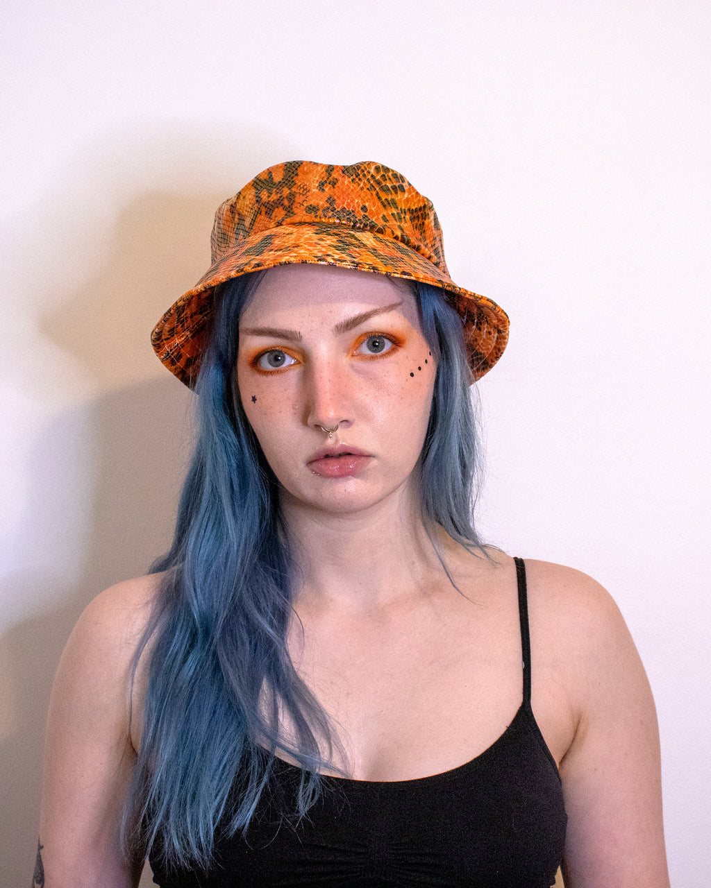 Orange Holo Snake Print Vegan Bucket Hat