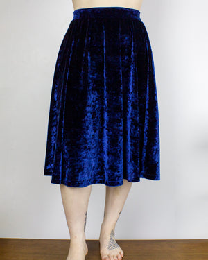 MEDIUM Water Mystic Navy Blue Velvet Midi Skirt