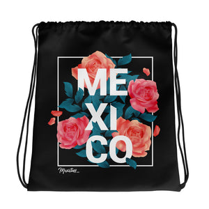Mex And Roses Drawstring bag