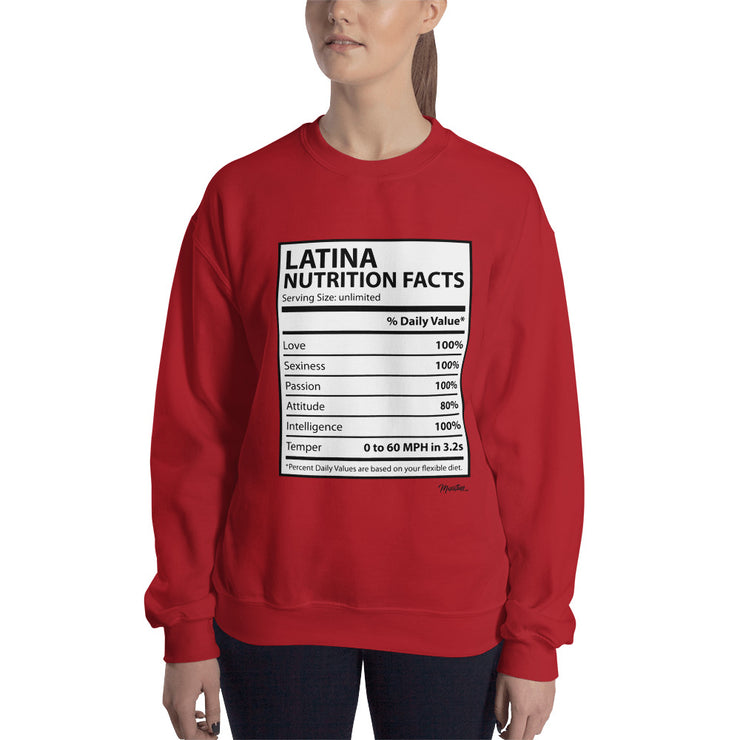 Latina Nutritional Facts Unisex Sweatshirt