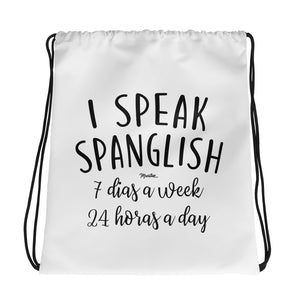 I Speak Spanglish Drawstring bag