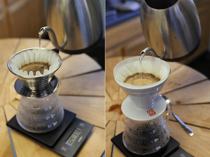 Kalita Wave (left) and Hario V60 (right)