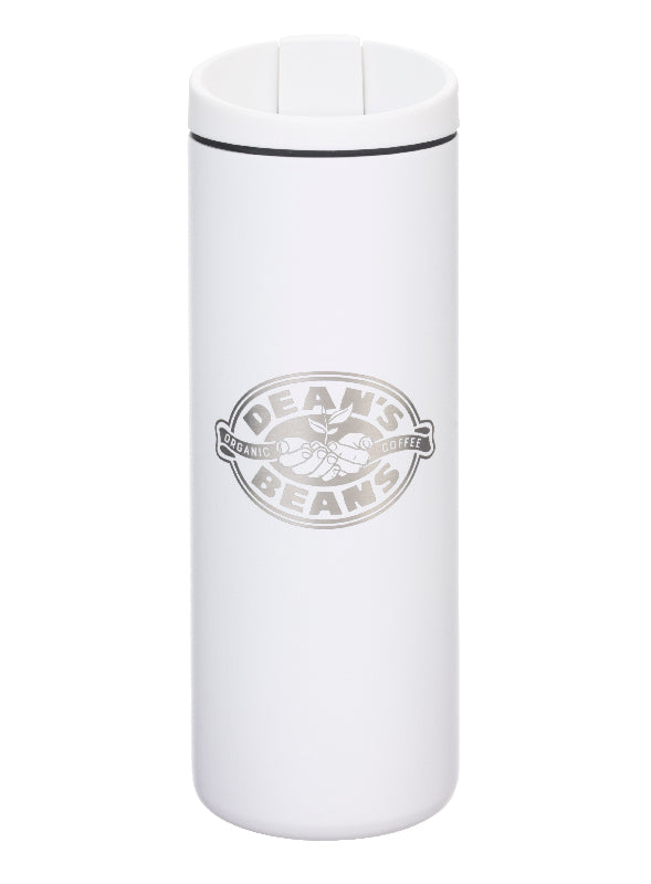 A tall, white MiiR travel mug with a screw on flip top and engraved with the Dean's Beans logo