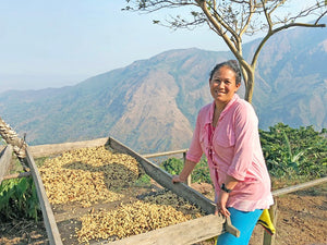 Female Colombian farmer next to a coffee drying bed in front of a beautiful mountain vista