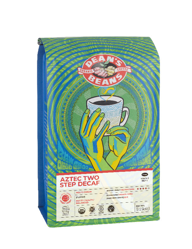 Aztec Two Step Decaf Bag - Front Label