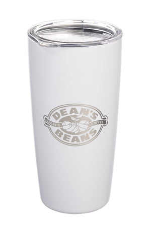 A white MiiR travel mug etched with the Dean's Beans logo