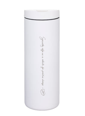 "A tall, white MiiR travel mug with a screw on flip top and engraved with ""Specialty coffee as a vehicle for positive change"" and Dean's signature bean"