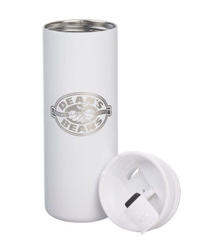 A tall, white MiiR travel mug, engraved with the Dean's Beans logo, with the top off