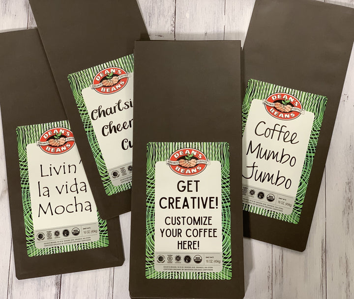 Examples of custom coffee bag designs with several different fonts