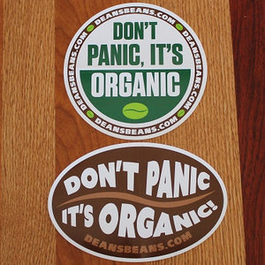 """Don't Panic It's Organic"" Bumper Sticker - Brown Bean"