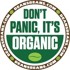 """Don't Panic It's Organic"" Bumper Sticker - Green Circle"