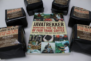 Javatrekker book surrounded by coffee sample bags