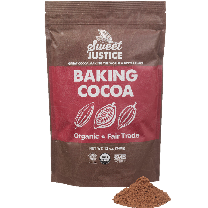 A bag of Sweet Justice Baking Cocoa, with a small pile of cocoa in front