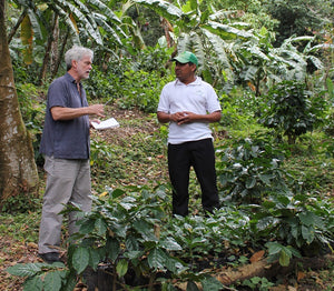 Dean talking with a farmer surrounded by small coffee plants