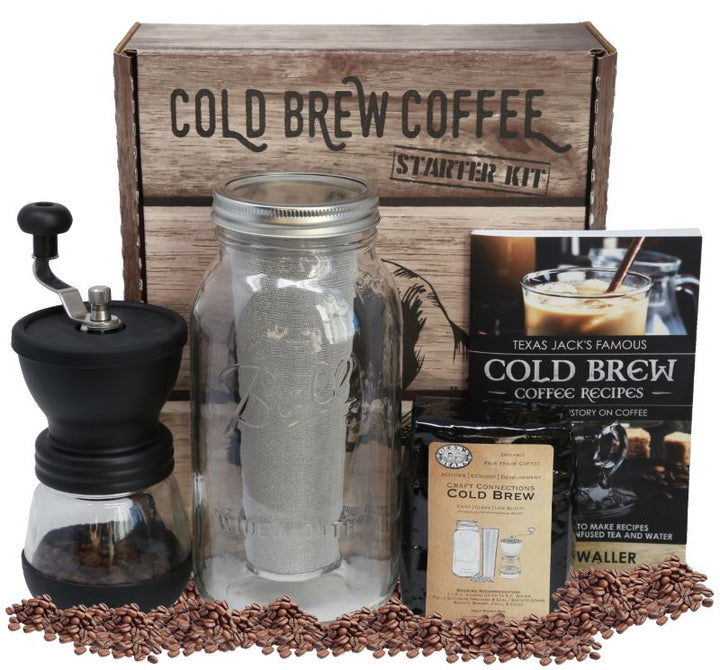 All the items included in the kit displayed in front of the cold brew kit box