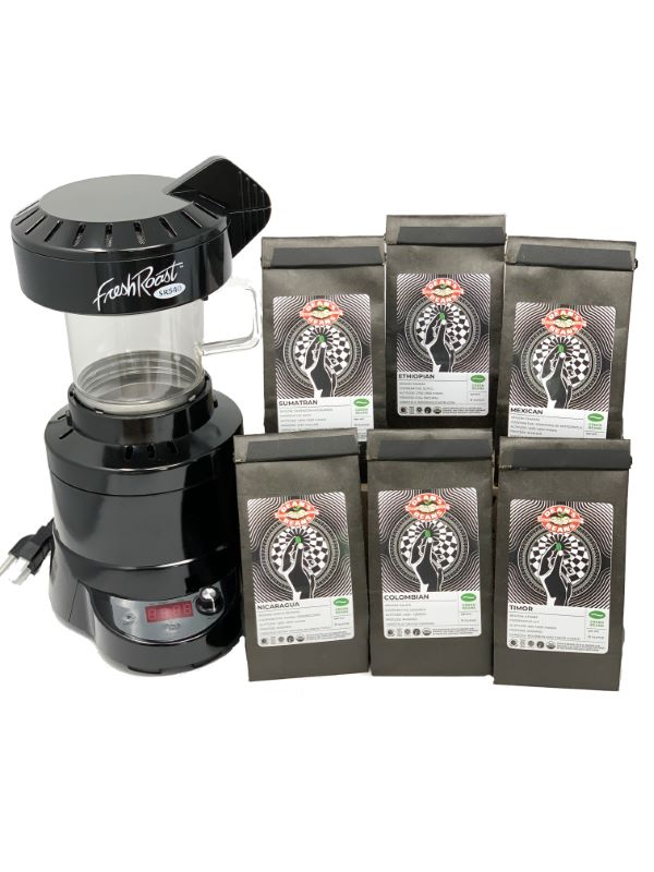 The FreshRoast SR540 with six bags of green beans
