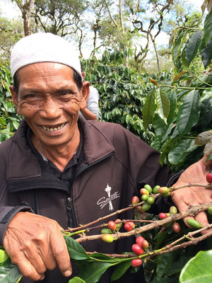 A smiling farmer showing off some of his coffee cherries