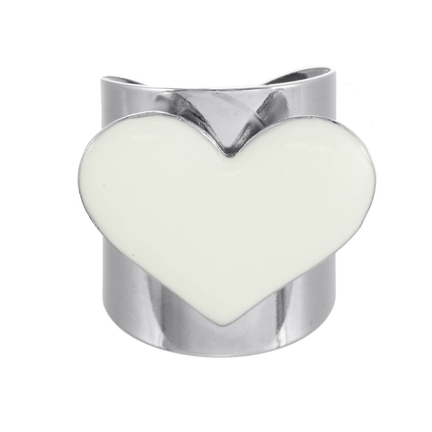 White Silver Heart Ring