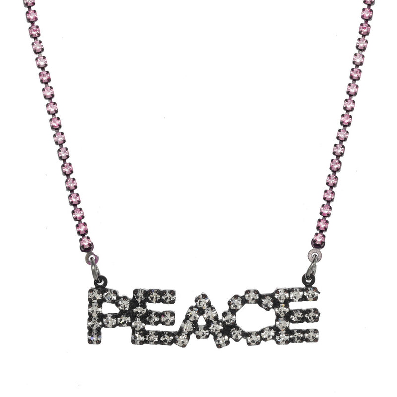 PEACE Marquee Necklace - Hot Pink/Smutt