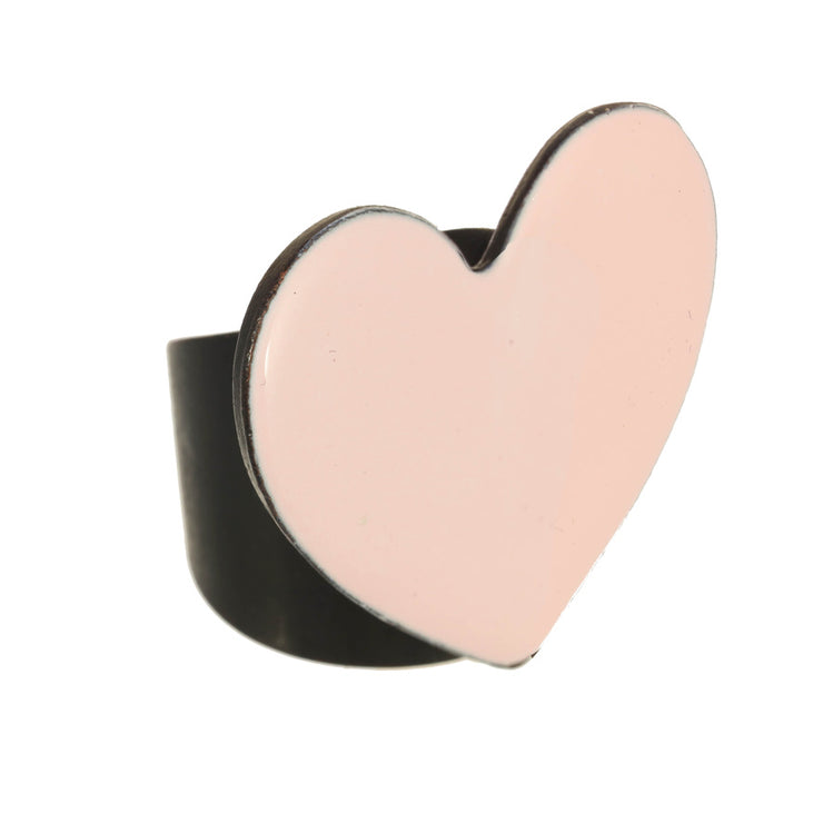 Light Pink Enamel Heart Ring