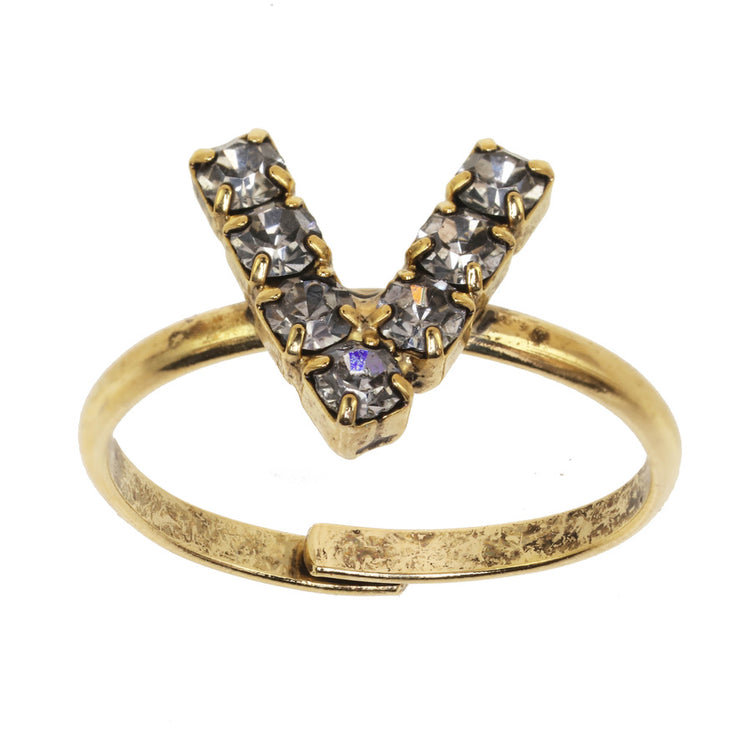 Alphabet Adjustable Ring - V