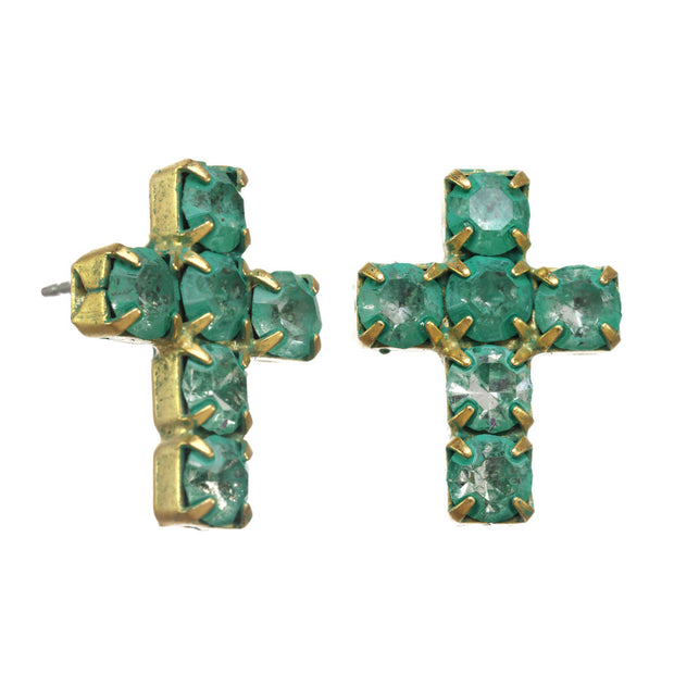 Cross Post Ear - Gold/Mint