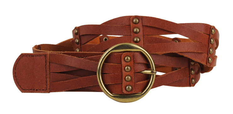Braided Leather Belt with Round Gold Buckle