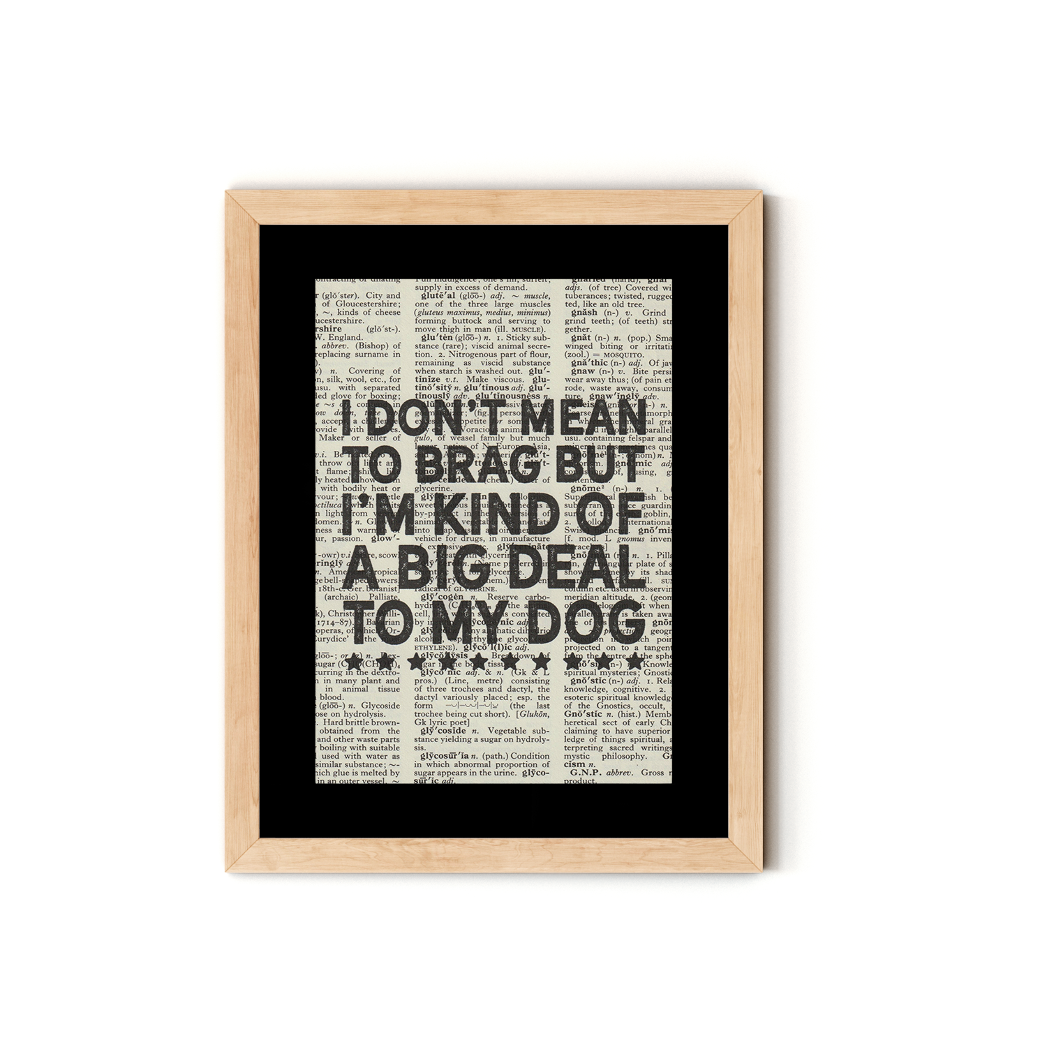 """I Don't Mean to Brag but I'm Kind of a Big Deal to my Dog"" Dictionary Art Print With Mount"