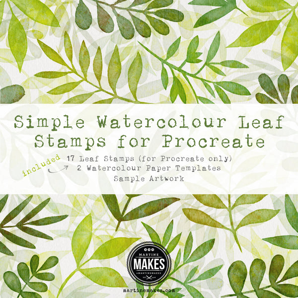 Simple Watercolour Leaf Stamps for Procreate