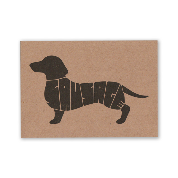 "Pack of 3 ""Sausage"" (Dog / Dachshund) Kraft Recycled Greeting Cards"