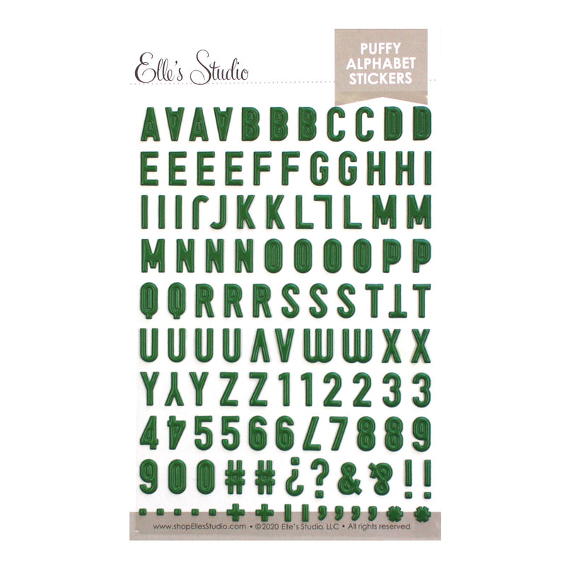 Dark Green Puffy Alphabet Puffy Stickers
