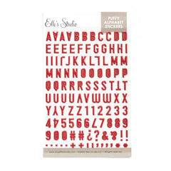 Dark Red Puffy Alphabet Stickers