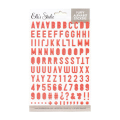 Coral Puffy Alphabet Stickers