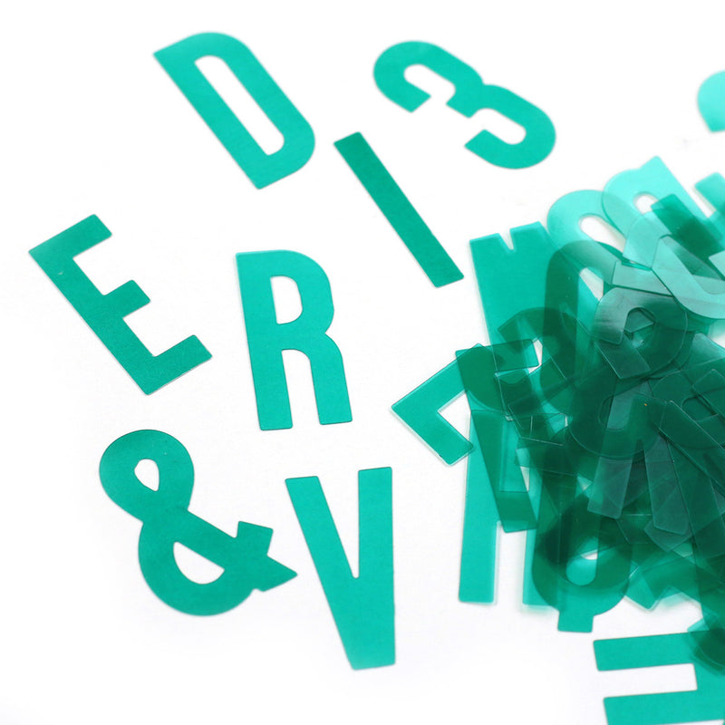 Teal Acetate Alphabet