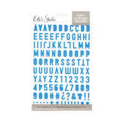 Cerulean Blue Puffy Alphabet Stickers